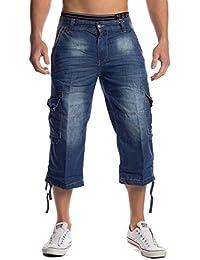 Hombres Jeans Pantalones cortos Carga Pendek ID1457 azul claro
