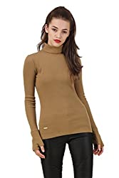 Texco Olive roll neck winter sweatshirt with gloves