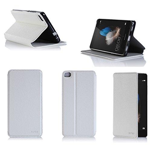 Ultra Slim Tasche Leder Style Huawei Ascend P8 Lite 4G Dual SIM Hülle weiß Cover mit Stand - Zubehör Etui Huawei Ascend P8 LITE 2015 Flip Case Schutzhülle (PU Leder, Weiss White) - XEPTIO Accessoires