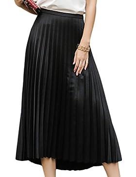 YuanDian Mujer Verano Casual Slim Fit Fiesta Plisadas Larga Faldas Alto Cintura Swing Maxi Falda Alto Cintura