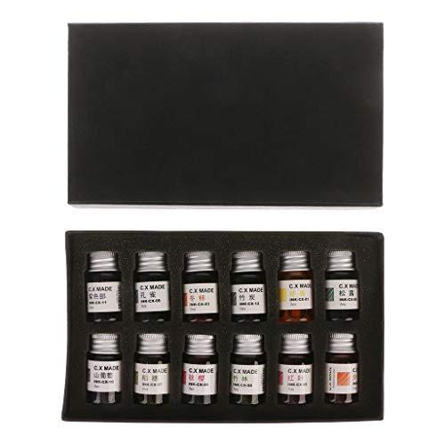 Exing Tintenfass Bunt Für Glas Dip Pen,12 X Gold Powder Colored Bottled Glass Dip Pen Ink Set...