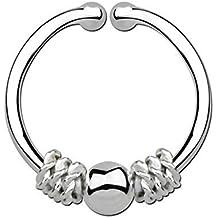 Piercing Nariz Falso Anillo Septum Anillo de apriete plata, 1,0 x 11 mm