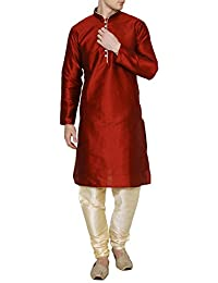 Royal Kurta Men's Silk Blend Maroon Loopbutton Kurta Pyjama
