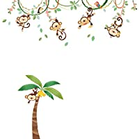 Decowall DA-1507 Monkeys on Vine Kids Wall Stickers Wall Decals Peel and Stick Removable Wall Stickers for Kids Nursery Bedroom Living Room