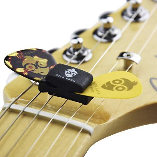 Pick Geek Plektrumhalter-Set | 6 x Halter für tropenförmige Plektren | Für Akustik-, Bass- und E-Gitarren | In einer Pick Geek Plektrumtasche aus Leinen | Inkl. KOSTENLOSEM Pick Geek Stahl-Plektrum