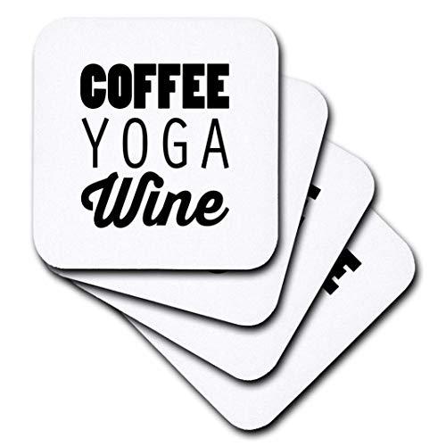 3dRose Tory Anne Kollektionen Quotes-Kaffee-Yoga Wein-Untersetzer, Gummi, set-of-4-Soft