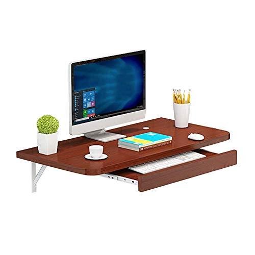 ZYOUXIU An der Wand montierter Computertisch, zusammenklappbar, platzsparend mit einem Host-Fach, 2 Spezifikationen, optional Mehrfarbig, A-Braun, 60 cm
