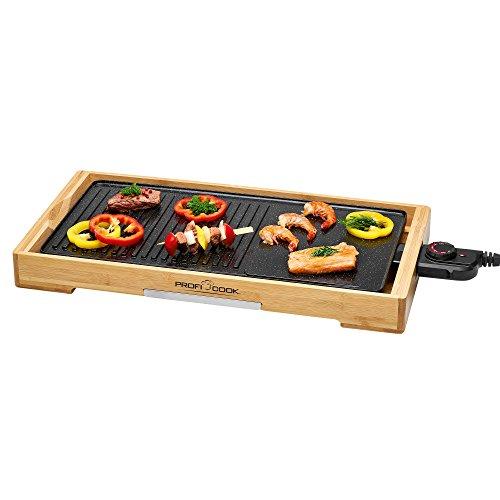 Profi Cook PC-TYG 1143 Teppanyaki-Grill, kratzfeste Keramikbeschichtung, große Grillfläche, stufenlos regelbarer Thermostat, herausnehmbarer Edelstahl-Fettauffangbehälter, Holz / Schwarz