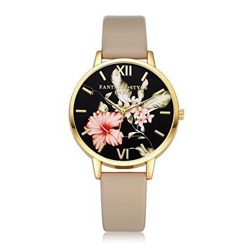 7f2c66a0d6d6 DressLksnf Reloj Vintage Moda para Mujer Durable Brazalete de Reloj Bonito  Cadena de Cuero Superficie de Estampado