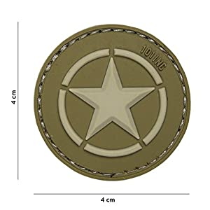 Patch 3D PVC USA Etoile Vert / Cosplay / Type Bouclier Captain America / Airsoft / Camouflage