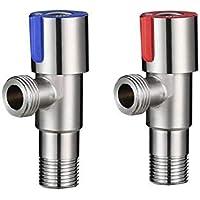 Lighfd Sanitaria válvula de ángulo 304 ángulo de Acero Inoxidable válvula estándar G1 / 2 Calibre de Mezcla Interruptor de la válvula de la válvula de Salida del Calentador de Agua WC 2 Paquete
