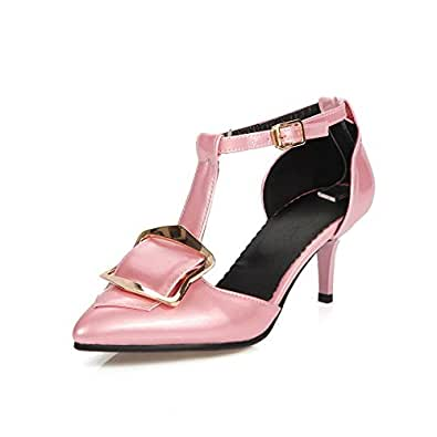 AgooLar Women's Buckle Pointed Closed Toe Kitten Heels Patent Leather Solid Pumps Shoes, Pink, 40