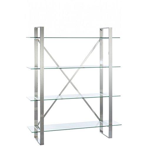 étagère 4 plateaux croix métal chrome et verre 150x40x180cm