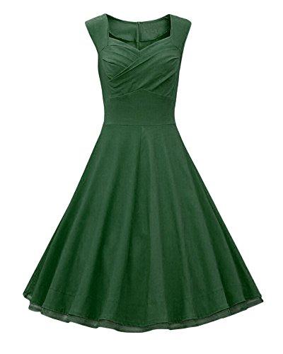 Hepburn Style Femme Robe Couleur Unie Sans Manches Col V Tunique Robe Vert