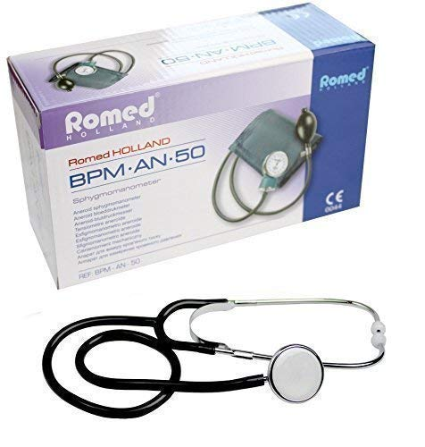 Blutdruckmessgerät Aneroid 2-Schlauch + Stethoskop verschiedene Farben nach Auswahl (Schwarz)