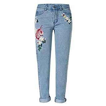 80Store nuovi Trench bellissimo ricamo del fiore della Rosa dei jeans del denim dei pantaloni dei pantaloni della luce blu (Small)
