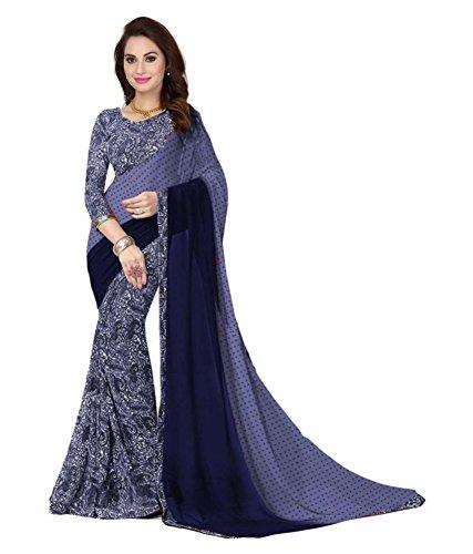 Kanchan Women's Soft Georgette Printed Saree (KTTRUMP BLUE_Multi Coloured)
