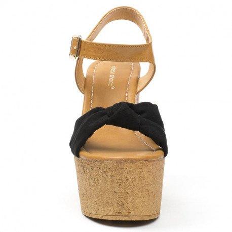 Ideal Shoes - Sandales compensées bi-matière et colorées Lauren Noir