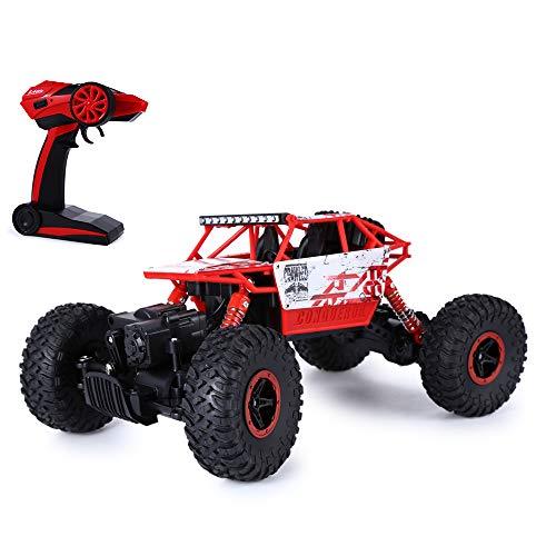 HB RC Car Car Remote Control 2.4GHz Scala 1:18 4WD A quattro ruote Auto Off Road Toy Remote Control Racing per Ragazzi (Rosso con cavo USB)