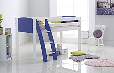 Scallywag Kids Cabin Bed 3FT Wide Shorty - White/Lilac - Curved Ladder - Made In The UK.