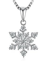 Collar Mujer, J.Rosée Plata de Ley 925 Brillante Circonita ''Palmeras en la Nieve'' Regalo Original para Día de la Madre