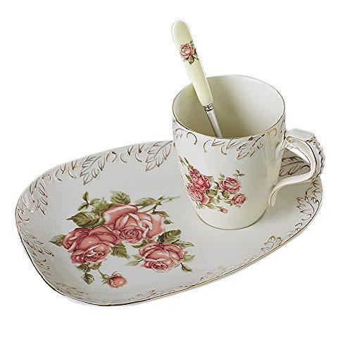 Panbado 3 tlg. Kaffee Set, Elfenbein Porzellan Kaffeetassen 300 ml mit Löffel und Untertassen als Dessertteller