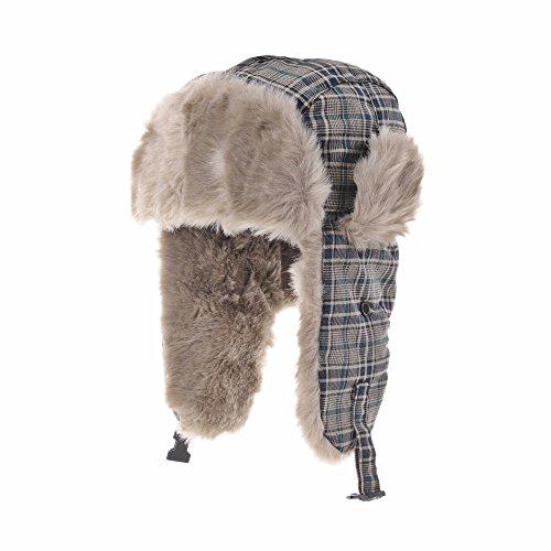WITHMOONS Chapkas Plaid Check Pattern Ear Flap Cap Bomber Hat Beanie Trooper Faux Fur SL7135 Vert