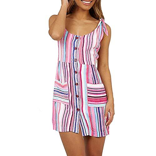 WWricotta Fashion Women Casual Sleeveless Striped Print Pocket Camis Button Mini Dress(Rosa,M)