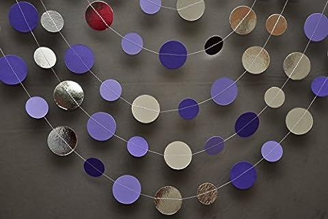 Argent mariage décoration guirlande, argent, violet/argent, guirlande Shimmer Guirlande en papier, guirlande, anniversaire, décorations, mariage, décoration,