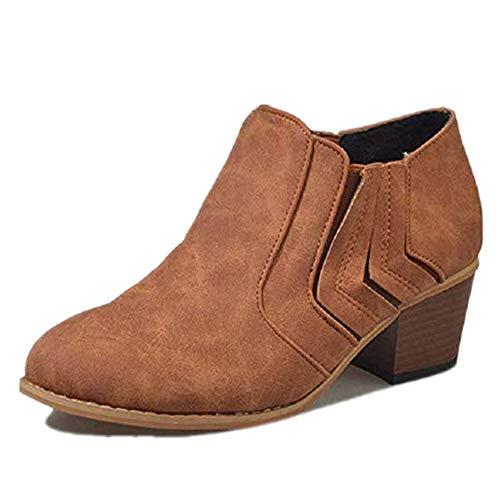 81bc1ded Botines Mujer Tacón Medio, Chelsea Piel Elásticos 5 Cm Zapatos De Botas  Comodos Fiesta Vintage