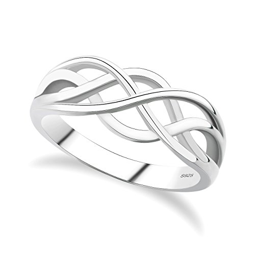 GULICX 925 Sterling Silver Ring Celtic Everlasting Love Knot Filigree Wedding Finger Ring Size R