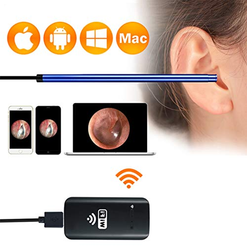 Drahtloses Otoskop Mit WiFi-Box HD 720P Ohrendoskop Mit 6 Einstellbaren LEDs IP67 Wasserdichte Inspektionskamera FüR Android IOS Tablet Windows, Blau