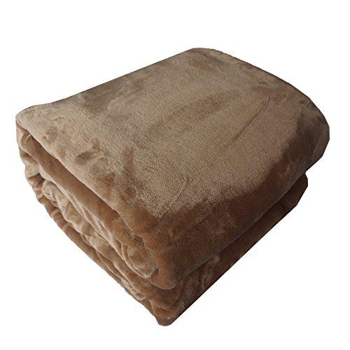 Manta de franela caliente, suave y de alta calidad, 150 x 200 cm, para la cama, poliéster, franela, marrón claro, 150 x 200 cm