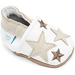 Dotty Fish Soft Leather Baby and Toddler Shoes. Boys and Girls. Stars. 0-6 Months - 4-5 Years, Blanc avec des Étoiles Brun, 21 EU