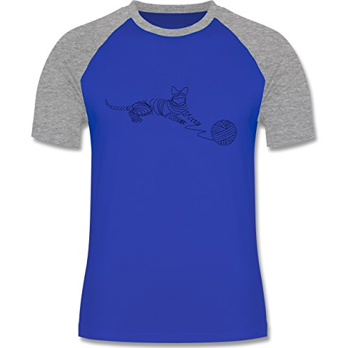 Katzen - I love cats - zweifarbiges Baseballshirt für Männer Royalblau/Grau meliert