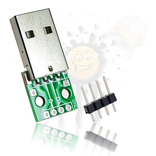 USB to Dip Adapter Break Out Male Female Stecker inkl. Pins 2,54mm Arduino USB Stecker + 4 PINs