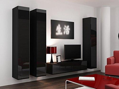 Wohnwand ' Vigo 14' Hochglanz Hängeschrank Lowboard Cube , Farbe:Schwarz