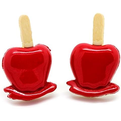 bluebubble truco o tratar Toffee Apple Stud Pendientes con caja de regalo