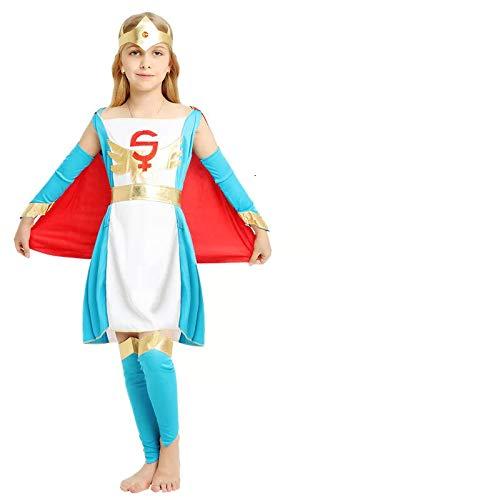 Kostüm Superwoman Kind - thematys Supergirl Superwoman Königin Kostüm-Set für Kinder - perfekt für Fasching, Karneval & Cosplay - Verschiedene Größen (L)
