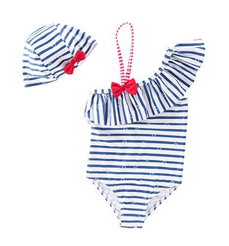 Cherry Mädchen Badeanzug (HAPPY CHERRY Mädchen Badeanzug Kinder Sommer Schwimmanzug Schulterfrei Einteiler UV-Schutz Bademode mit Badekappe Set Streifen Muster Strand Swimwear Blau - Größe 7T)