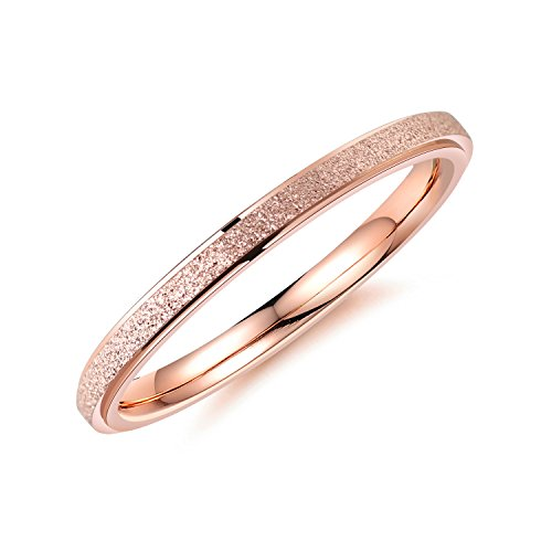 bigsoho Modeschmuck Damen Ring 2mm breit Edelstahl sandgestrahlt Ehering Verlobungsring Trauring Geschenk (Rosegold, 49 (15.6))