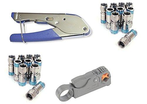 Cabelcon Set Bestehend aus Kompressionszange Pocket Tool + Cable Stripper + 20 Stück Kompressions-F-Stecker (20 Stk CX3 7.0 QM + Rotary Stripper)