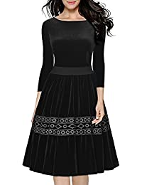 Miusol® Damen 1950er Abenkleid 3/4 Arm Samt Swing Kleid Winter Stickerei Vintage Cocktailkleid Schwarz Gr.S-XXL