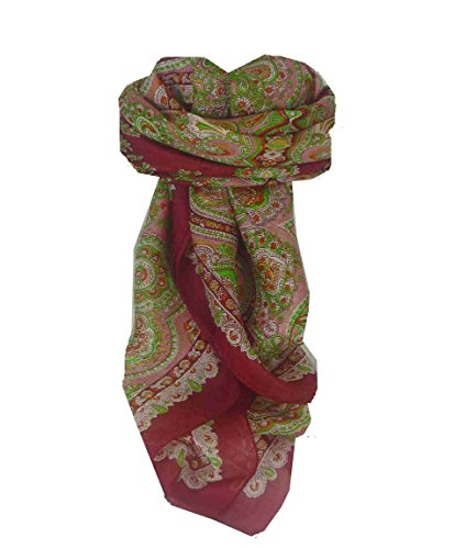 Traditional Maulbeereseide Quadratischer Tuch Madras Red von Pashmina & Silk Madras Wrap