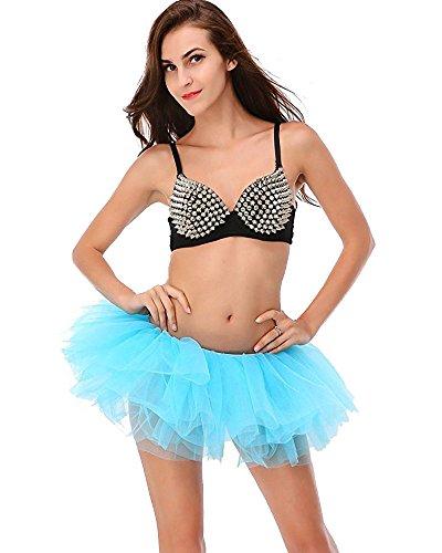 Mangotree Organza Tutu Skirts Damen Klassische Retro 8 Lagen Tüll Cosplay Kostüm Ballett Tanz Tutu Rock für Fasching Karneval Kostüm (EU 32-42, (Ballerina Blaue Kostüme)