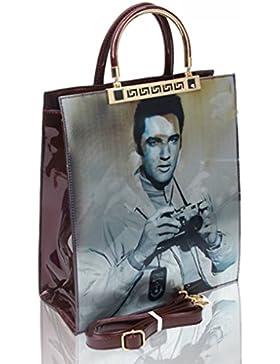 LeahWard Frauen-Patent Kunstleder Monroe Elvis Print Bild Handtaschen für College Schulreise Arbeit Einkaufen...