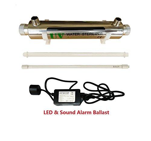 UV Wasser Desinfektion System Edelstahl 304 UV Sterilisator Flussrate 2GPM 16W (Watt) Ultra violettes Licht Filter Wasserfilter mit Einlass/Auslass m?nnlich 1/2 Zoll (Einlass-licht)