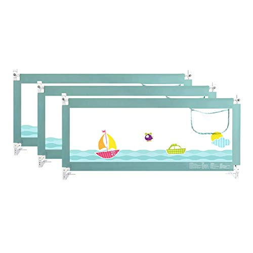 FMEZC Kleinkind-3-seitige Sicherheitsbettschiene - Faltbare Leitplanke für einstellbare Kindersicherheitsbarriere, grün (Größe: 1,8 + 2 + 2M) - 2-seitig Matratze