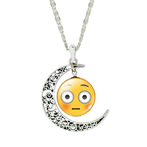 madchen-niedlich-betaubt-emoji-klar-glas-anhanger-halskette-schone-blume-halbmond-halskette