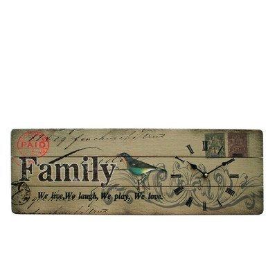 SuperStudio LO+DEMODA HCN943-46300 - Cuadro de madera impreso con reloj, diseño Family, 20 x 60 cm